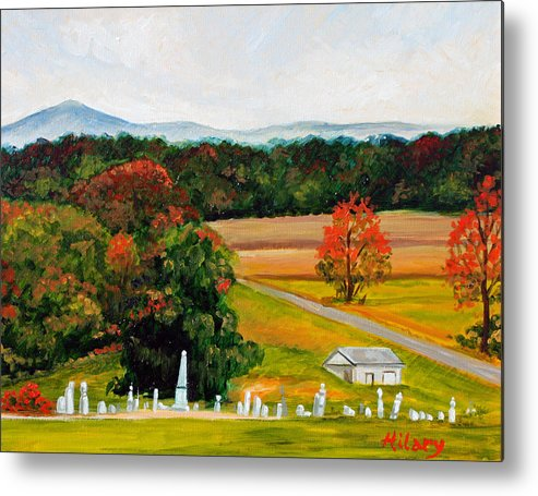 Landscape Metal Print featuring the painting Salem Cemetery In October by Hilary England