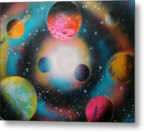 Spray Paint Art Metal Print featuring the painting Saturn Galaxy by Emily Cummings