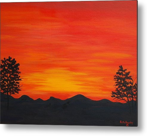Landscape Metal Print featuring the painting Scarlet Sunset Sold by Ruth Housley