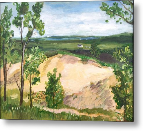 Landscape Metal Print featuring the painting Send Dunes With A Farm House by Eleonora Hayes