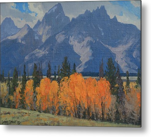 Landscape Metal Print featuring the painting September Glow by Lanny Grant