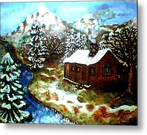 Landscape Metal Print featuring the painting Serenity Cabin by Tanna Lee M Wells