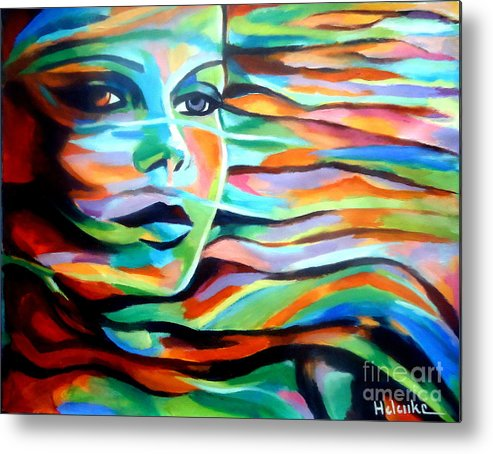 Contemporary Art Metal Print featuring the painting Sheltered By The Wind by Helena Wierzbicki