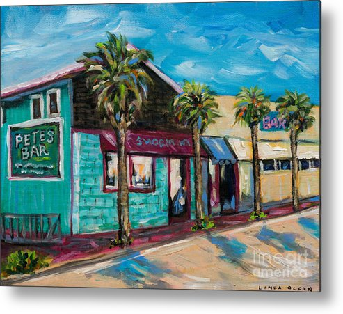 Local Shops Metal Print featuring the painting Shorelines by Linda Olsen