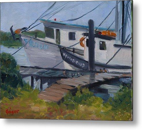 Workboats Metal Print featuring the painting Shrimpboat Docks At St. Augustine Port by Pamela Geiger