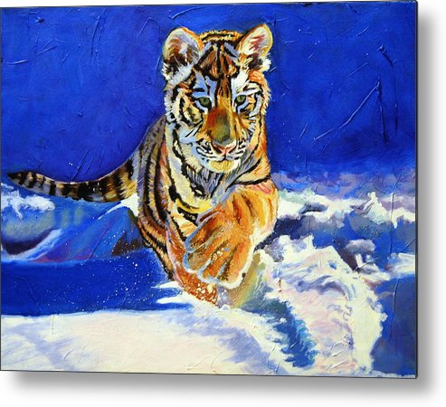 Siberian Tigers Metal Print featuring the painting Siberian Tiger Cub by Christine King