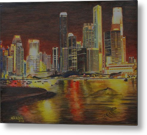 Cityscape Metal Print featuring the painting Singapore Nights by Nik Helbig