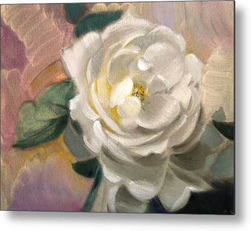 Floral Roses Metal Print featuring the painting Single Rose by Patrick McClintock