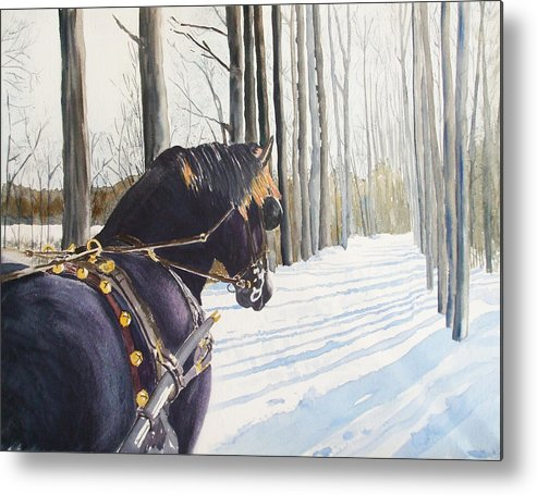 Horse Metal Print featuring the painting Sleigh Bells by Ally Benbrook