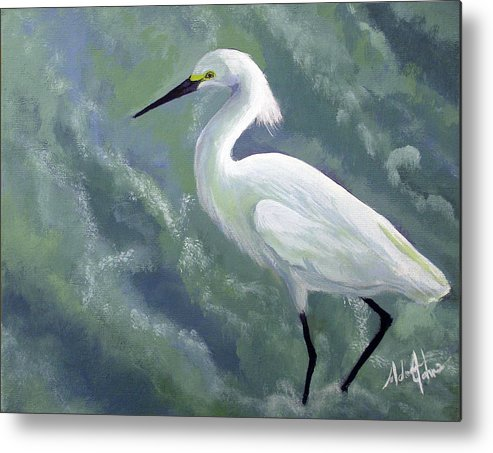 Egret Metal Print featuring the painting Snowy Egret In Water by Adam Johnson