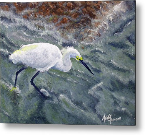 Egret Metal Print featuring the painting Snowy Egret Near Jetty Rock by Adam Johnson
