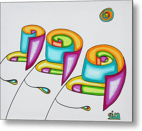 Fantasy Metal Print featuring the painting Spiral Triplets by      Gillustrator