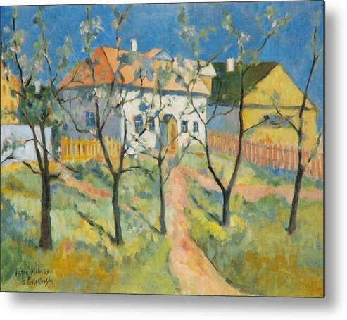Malevich Metal Print featuring the painting Spring Garden In Bloom My Reproduction Of Malevichs Work by Ekaterina Mortensen