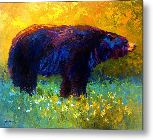 Bear Metal Print featuring the painting Spring Stroll - Black Bear by Marion Rose