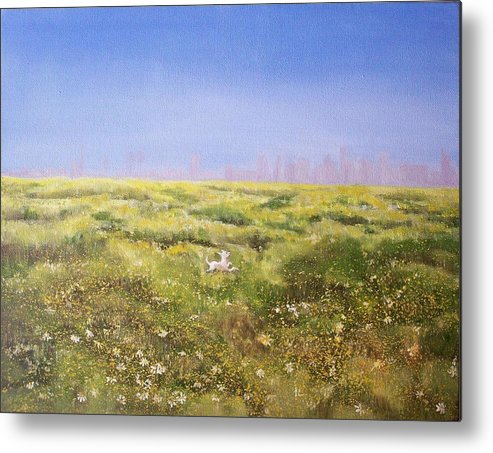 San Diego Skyline Metal Print featuring the painting Springtime At Fiesta Island by Irene Corey