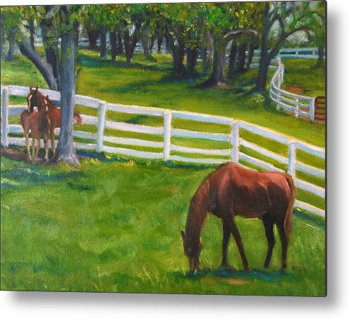 Equine Metal Print featuring the painting Springtime At Undulata by Stephanie Allison