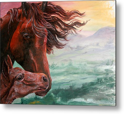 Horse Metal Print featuring the painting Springtime Kisses by Sherry Shipley