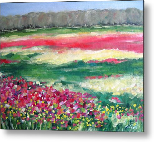 Landscape Metal Print featuring the painting Springtime Memories by Marsha Young