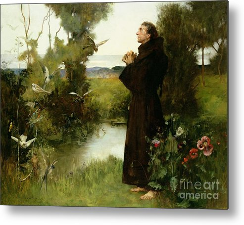 St. Francis Metal Print featuring the painting St. Francis by Albert Chevallier Tayler