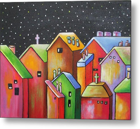 Landscape Metal Print featuring the painting Starry Night In The Little City 1 by Janet Telander