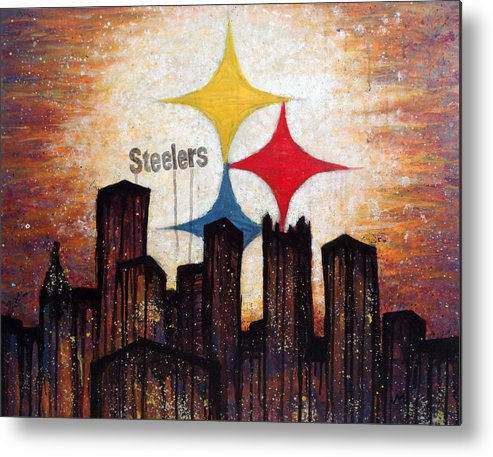 Steelers Metal Print featuring the painting Steelers. by Mark M Mellon