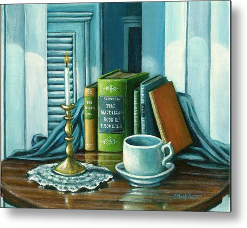Books Metal Print featuring the painting Still Life With Books by Colleen Maas-Pastore