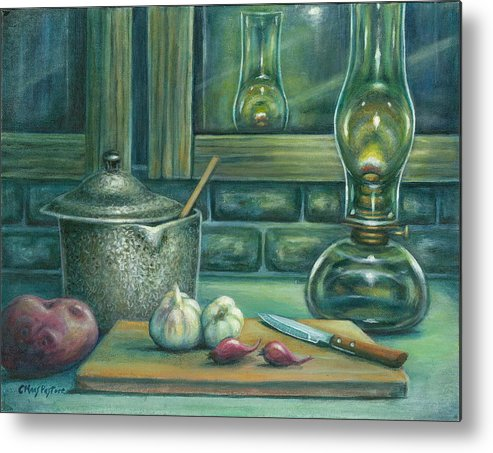 Painting Metal Print featuring the painting Still Life With Garlic by Colleen Maas-Pastore