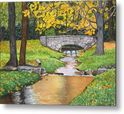Landscape Metal Print featuring the painting Stone Bridge by Sharon Farber