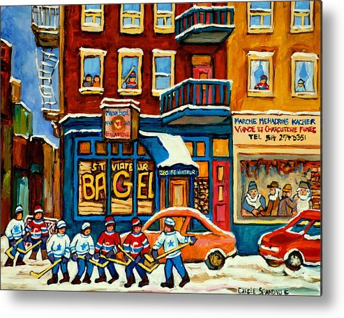 St.viateur Bagel Metal Print featuring the painting St.viateur Bagel Hockey Montreal by Carole Spandau