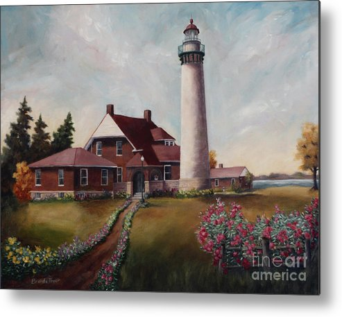 Lighthouse Nautical Building Structure Oil Painting Canvas Original Lake Michigan Flowers Metal Print featuring the painting Suel Choix Light by Brenda Thour