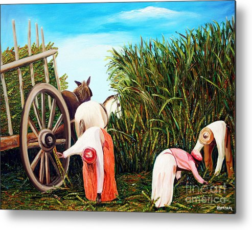 Cuban Art Metal Print featuring the painting Sugarcane Worker 1 by Jose Manuel Abraham