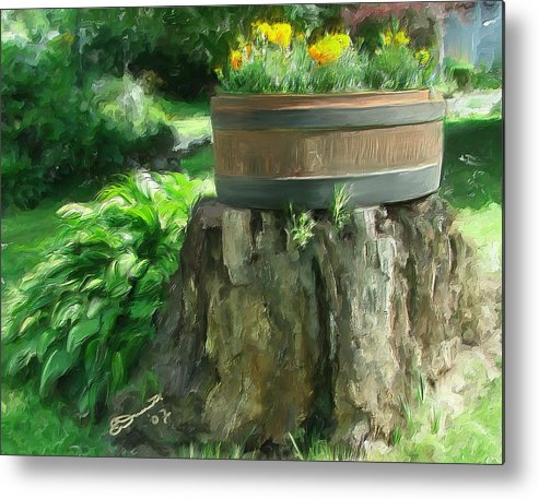 Landscape Planter Monadnock Nh New Hampshire Flowers Floral Green Metal Print featuring the painting Summer In The Monadnocks by Eddie Durrett