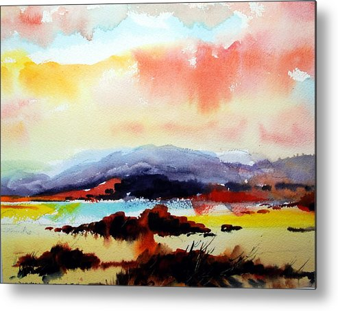Landscape Metal Print featuring the painting Sun Down by Wilfred McOstrich