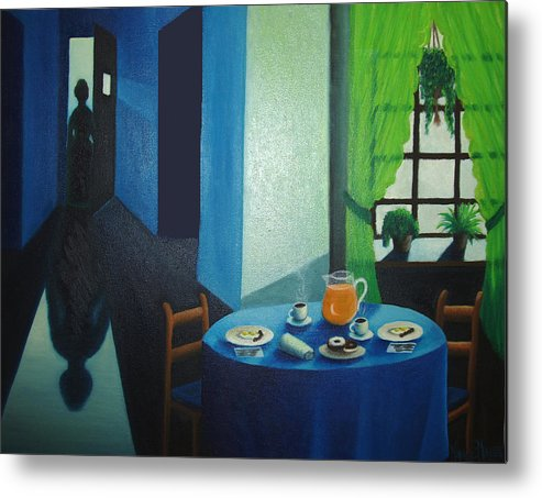 Breakfast Metal Print featuring the painting Sunday Morning Breakfast by Nancy Mueller
