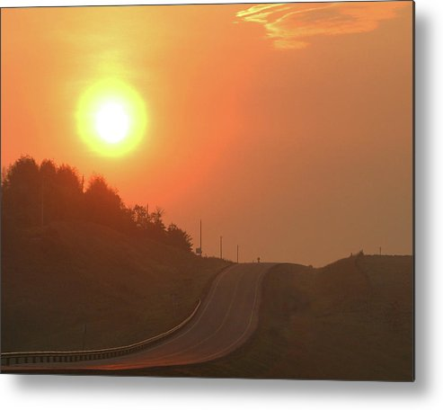 Sunrise Metal Print featuring the photograph Sunrise On A Country Road by Jack Dagley