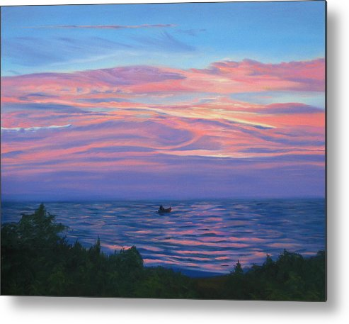 Seascape Metal Print featuring the painting Sunset Bay by Lea Novak