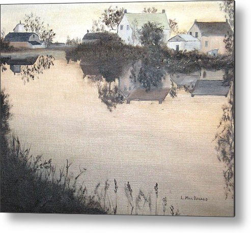 Landscape Metal Print featuring the painting sunset On Consecon by L A Raven
