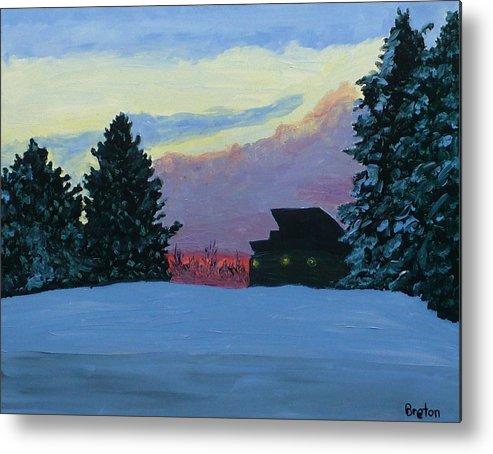 Landscape Metal Print featuring the painting Sunset Serenade by Laurie Breton