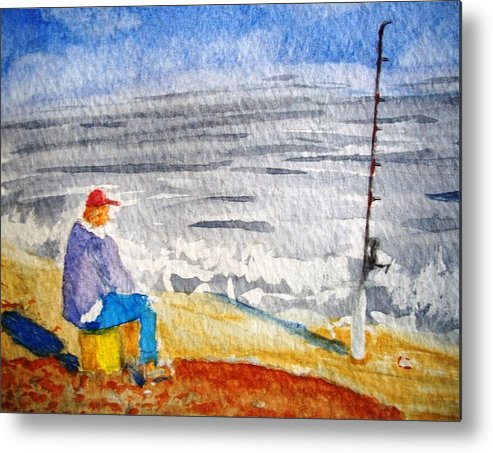 Fishing Metal Print featuring the painting Surf Fishing by Spencer Joyner
