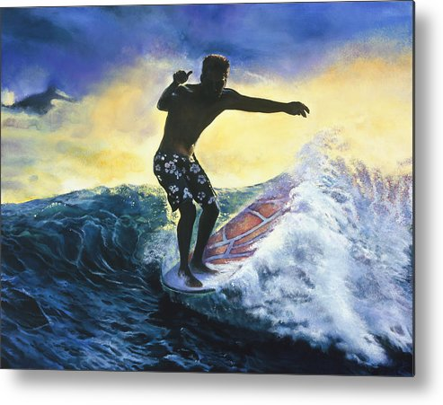 Surfer Metal Print featuring the painting Surfer by Mary Johnson