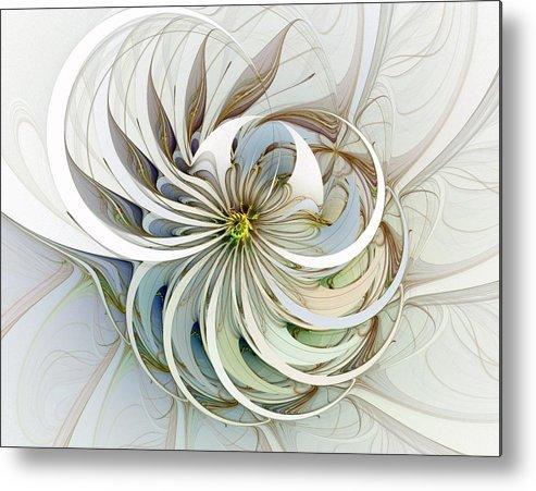 Digital Art Metal Print featuring the digital art Swirling Petals by Amanda Moore