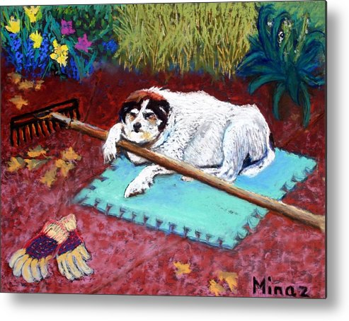 Dog Metal Print featuring the painting Take A Break by Minaz Jantz