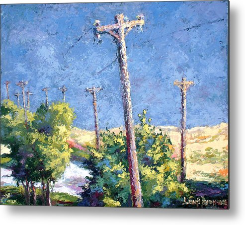 Landscape Painting Metal Print featuring the painting Telephone Poles Before The Rain by Lewis Bowman