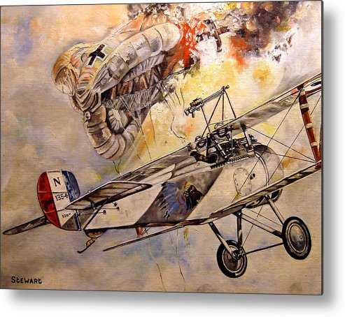 Military Metal Print featuring the painting The Balloon Buster by Marc Stewart