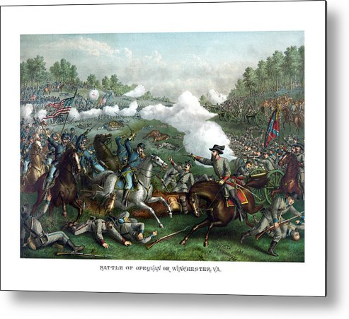 Civil War Metal Print featuring the painting The Battle Of Winchester by War Is Hell Store
