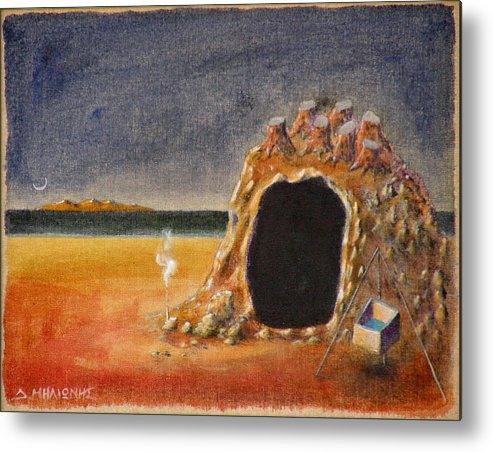 Metaphysacal Metal Print featuring the painting The Cave Of Orpheas by Dimitris Milionis