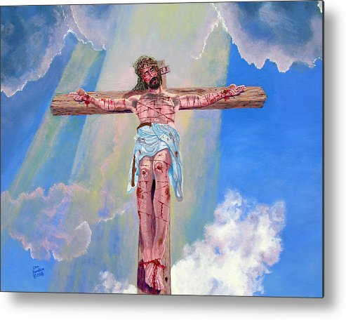 Christ Metal Print featuring the painting The Crucifixion Day by Stan Hamilton