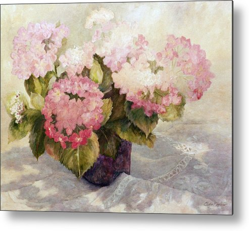 Shadows Metal Print featuring the painting The Gift Hydranga by Elaine Bigelow