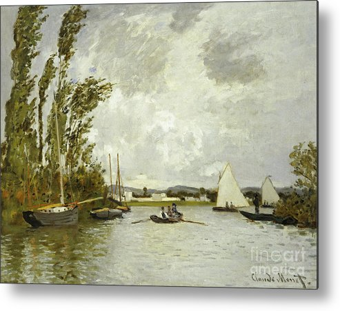 The Little Branch Of The Seine At Argenteuil (oil On Canvas) By Claude Monet (1840-1926) Metal Print featuring the painting The Little Branch Of The Seine At Argenteuil by Claude Monet