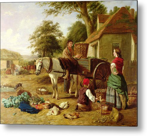 Rural; Farm; Horse; Harness; Poultry; Chickens; Ducks; Cows; Milking; Produce; Eggs; Cabbages; Bulbs; Farmyard; Farmhouse; Farmer; Family; Homegrown; Barrow; Victorian Metal Print featuring the painting The Market Cart by Henry Charles Bryant